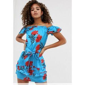 NEW  ASOS Parisian Tall  Floral Off-Shoulder Dress